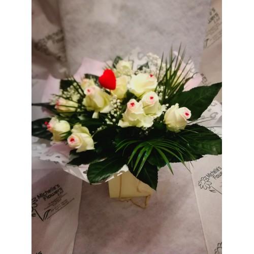 A Dozen Heart Roses